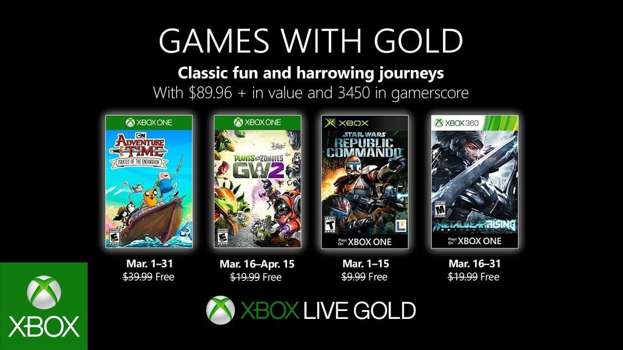 Juegos de Xbox con oro para marzo de 2019 revelados