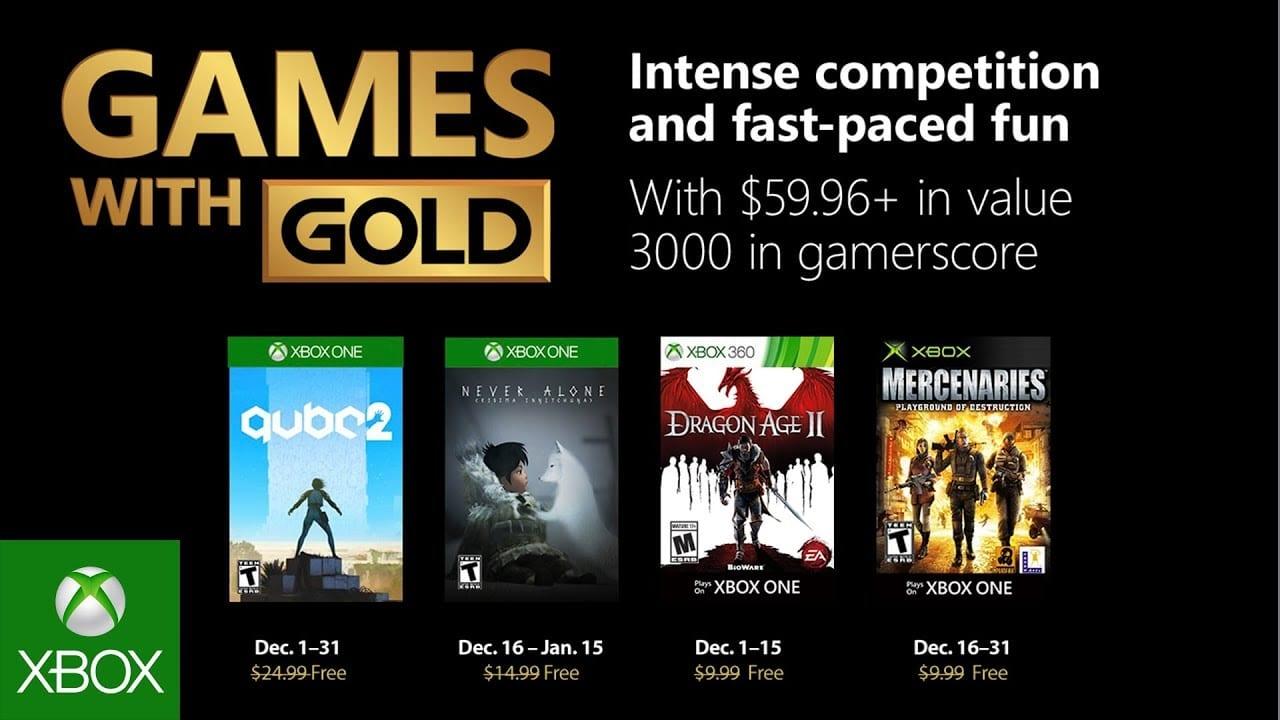 Juegos de Xbox con oro para diciembre de 2018 revelados