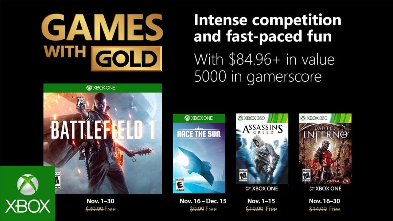 Juegos Xbox de noviembre con oro anunciados
