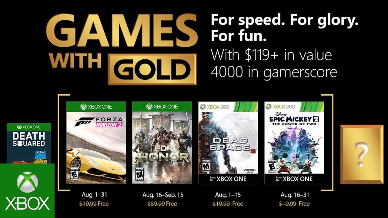 Juegos de Xbox con oro para agosto de 2018 revelados